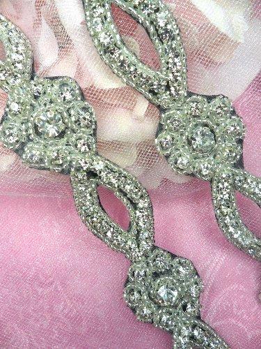 0429 Black Backing Crystal Clear Glass Rhinestone Silver Beaded Floral Trim