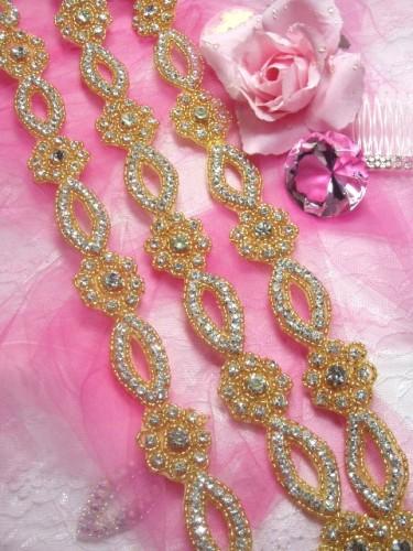 0429 Gold Beaded Clear Rhinestone Floral Trim