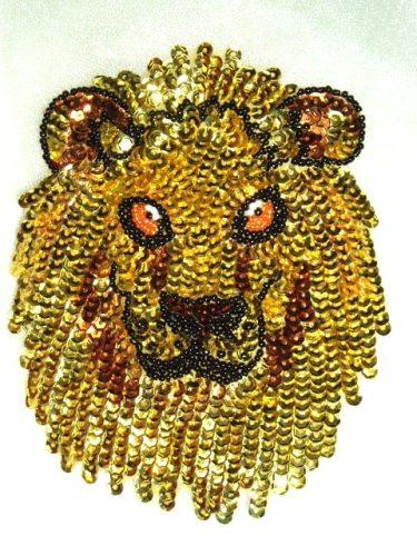 0430  Lion Face Beaded Sequin Applique 6\