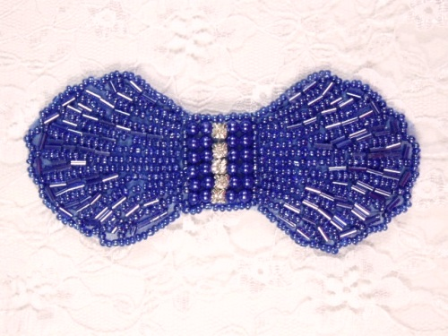 0434  Royal Blue Rhinestone Bow Beaded Applique 4.5\