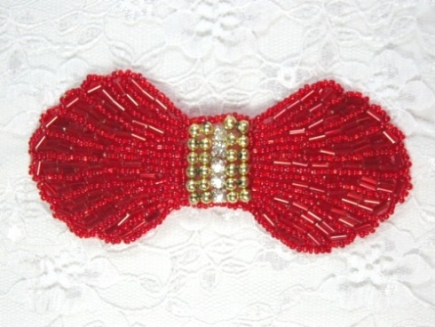 0434  Red Gold Rhinestone Bow Beaded Applique 4.5