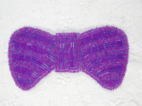 0435  Purple Bow Beaded Applique 4