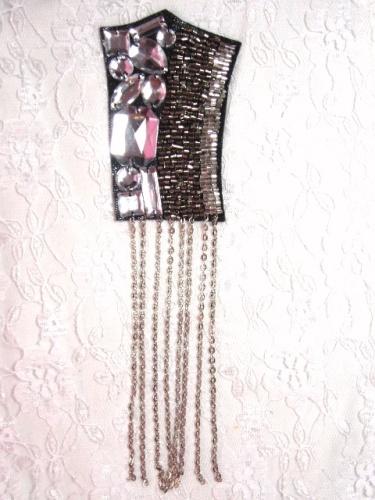 0445  Black Silver Chain Jewel Beaded Applique 8