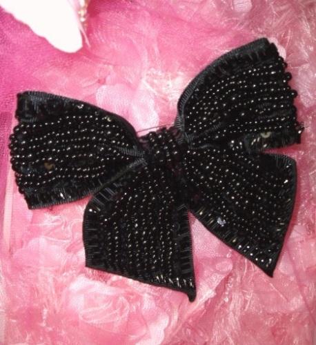 0449  Black Bow Beaded Sequin Applique Pin Brooch 4.75