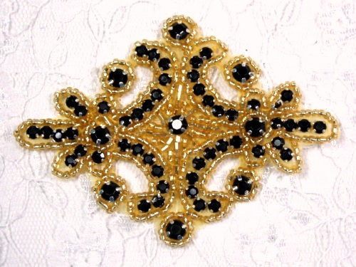 Black Gold Victorain Beaded Applique 4  XR391