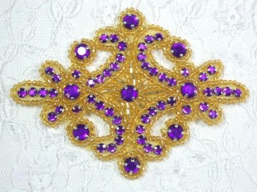 0470 Purple Gold Rhinestone Beaded Hair Bow / Brooch / Applique 4