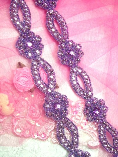 0474  Lavender Flower Rhinestone Jewel Floral Trim 1.25\