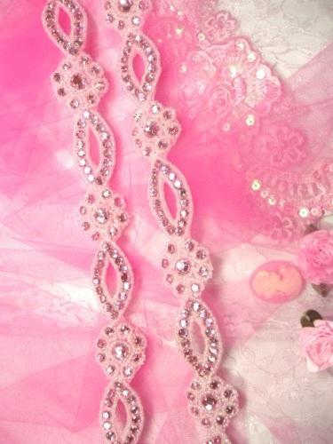 0474  Pink Rhinestone Jewel Floral Trim 1.25\