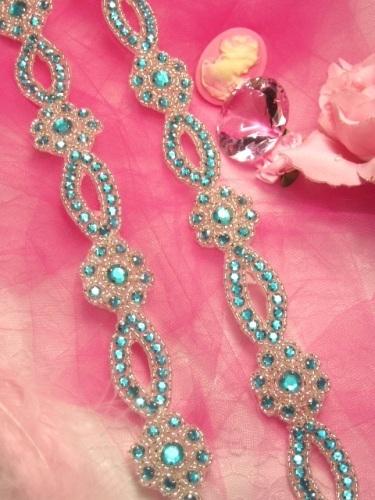 0474  Turquoise & Silver Rhinestone Jewel Floral Trim 1.25\