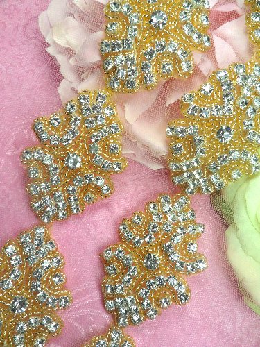 0477 Gold Backing Cinderella  Genuine Rhinestone Beaded Trim 2\
