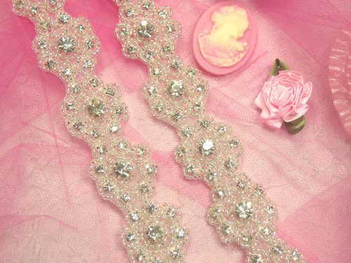 0478  Starlight Floral Genuine Rhinestone Beaded Flower Trim