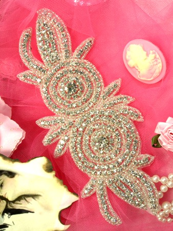 0485 Crystal Double Rose Floral Beaded Rhinestone Applique 7.5