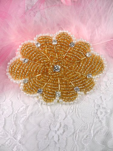 0489 Gold Crystal Pearl Beaded Rhinestone Applique 3