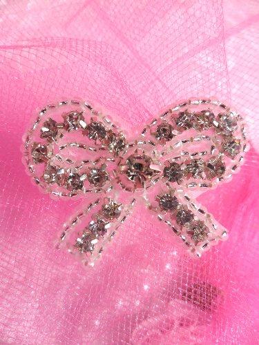 0504 Small Bow Crystal Clear Rhinestone Silver Beaded  Applique 1.5