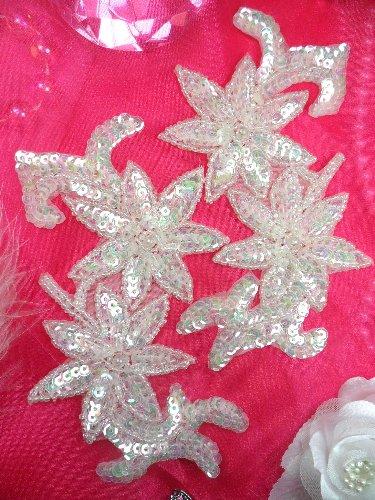 0505  Aurora Borealis Crystal AB Mirror Pair Beaded Sequin Appliques 6\