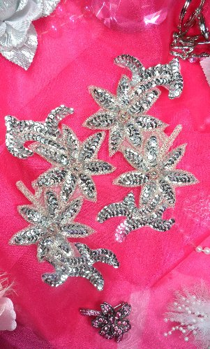 Flower Sequin Appliques Mirror Pair w/ Silver Beads 6 (XR375X)