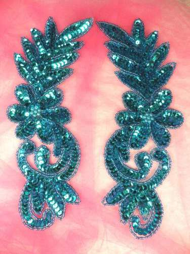 0507 Turquoise Floral Flower Mirror Pair Sequin Beaded Appliques Set 8.5\