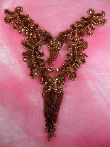 0510 Bronze Bodice Yoke Sequin Beaded Applique 10\