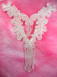 0510 Crystal Bodice Yoke Sequin Beaded Applique 10
