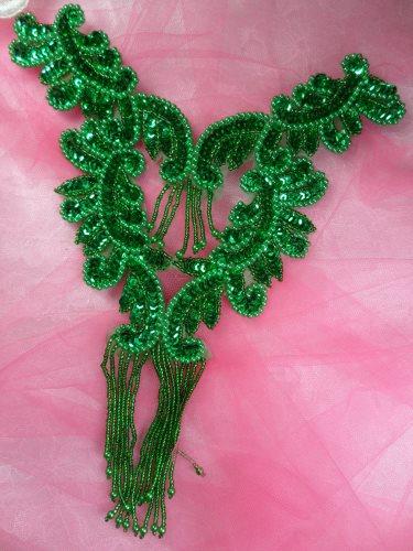0510 Green Bodice Yoke Sequin Beaded Applique 10\