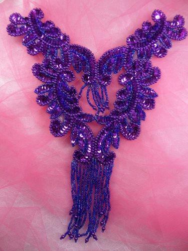 0510 Purple Bodice Yoke Sequin Beaded Applique 10\