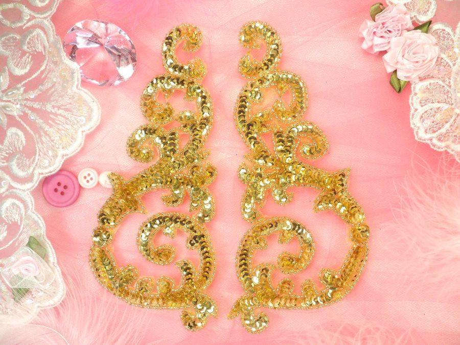 Sequin appliques gold w beaded edge dance costume motif mirror pair