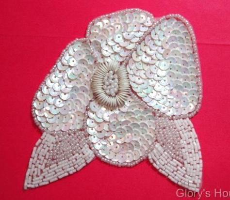 K8916  White AB Floral  Sequin Beaded Applique 4.5