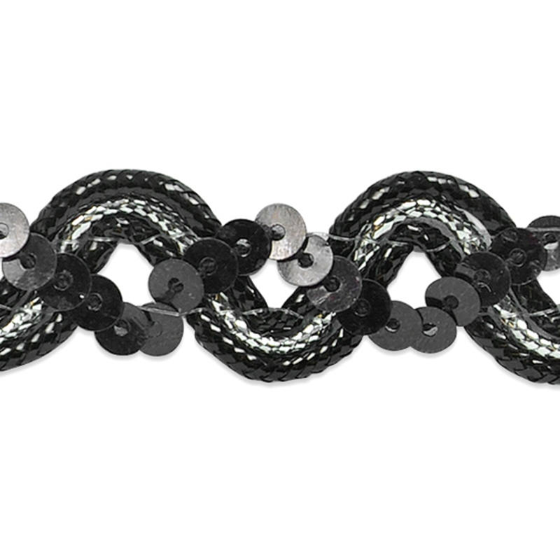 E6962 Black Silver Metallic Braid Sequin Sewing Craft Trim 5/8