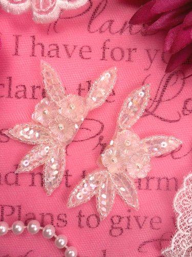 FS1609B  Floral Crystal Iris AB Sequin Beaded Mirror Pair Appliques 3\