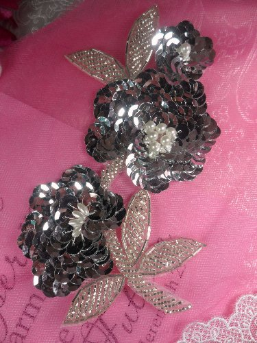 FS1586  Pearl Floral Silver Beaded Sequin Applique 6\