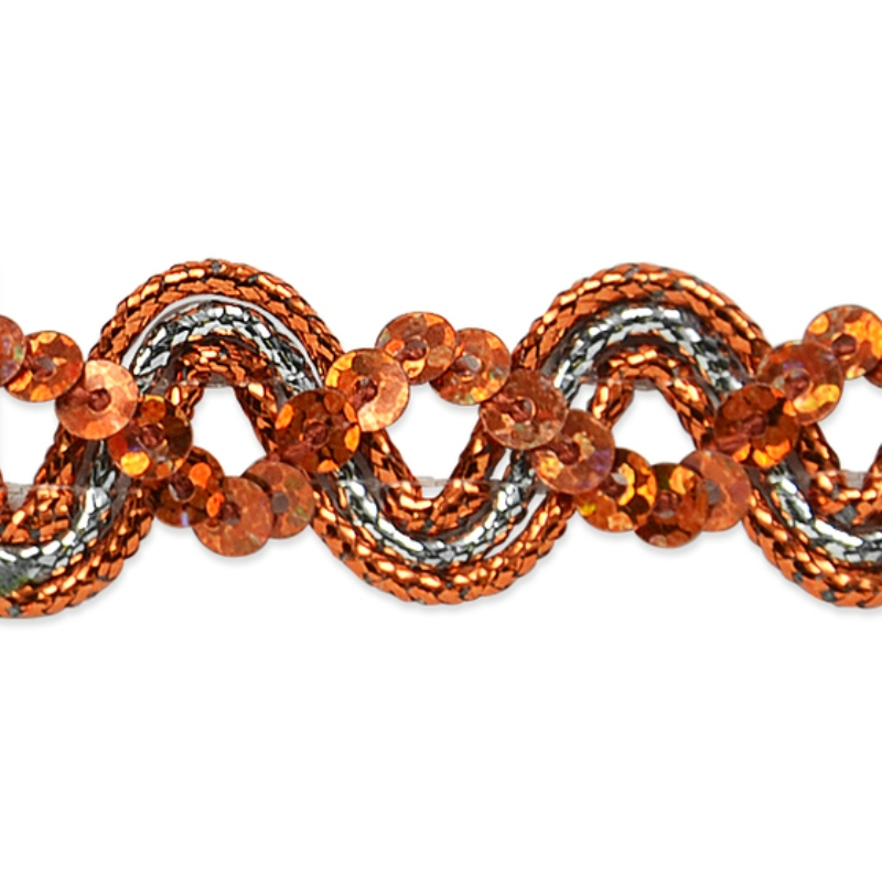 E6962 Orange Silver Metallic Braid Sequin Sewing Craft Trim 5/8