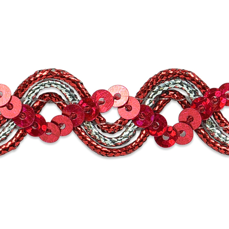 E6962 Red Silver Metallic Braid Sequin Sewing Craft Trim 5/8