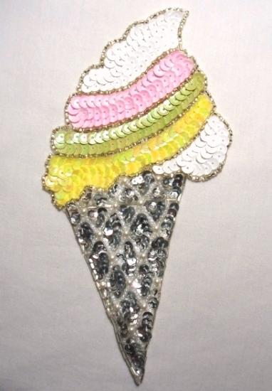 Ice Cream Cone 8.5 Sequin Beaded Applique  K8875