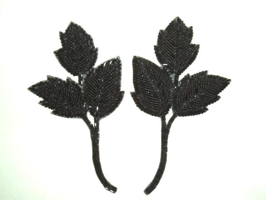 Black Leaf 6 Mirror Pair Beaded Applique  K8128