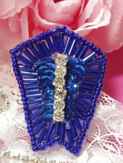Blue Rhinestone 2 Sequin Beaded Applique K1273