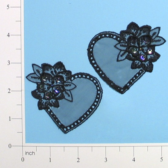 Black Iris Venise Lace 2.75 Heart Mirror Pair Appliques E2704