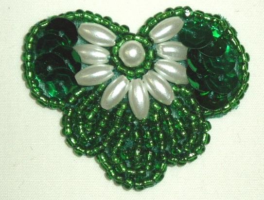 K1231 Green Pearl 1.75 Sequin Beaded Applique  K1231