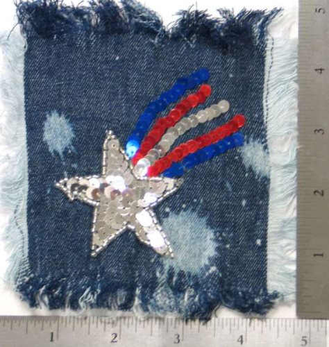 E2632 Shooting Star Applique Patriotic Sequin Silver Beaded on Denim 3.5