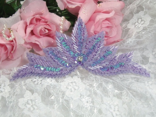 High Quality Sequin Bugle Beaded Applique Lavender AB Crystal Rhinestone Center Clothing Patch Motif 7 0084