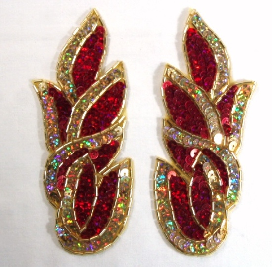 Red Gold Cluster 5.25 Mirror Pair Sequin Beaded Holographic Flames Leaves Appliques 0171