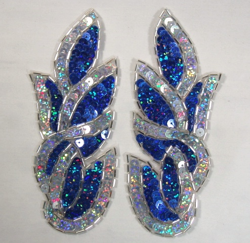 Blue Silver 5.25\ Cluster  Mirror Pair Sequin Beaded Holographic Flames Leaves Appliques 0171