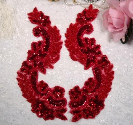 0180 Red Mirror Pair Sequin Beaded Appliques 8