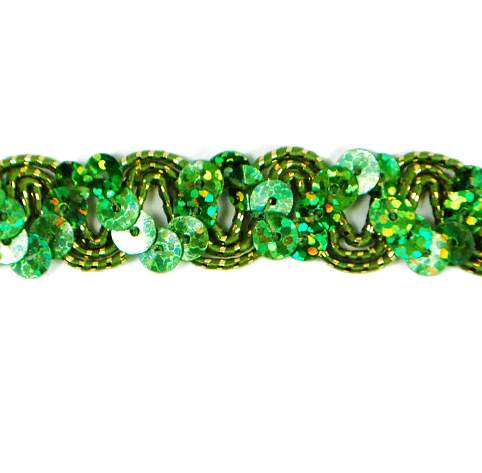 E6176 Lime Green Holographic Ric Rac Sequin Sewing Craft Trim 5/8\