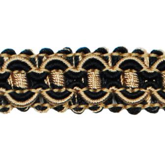 "E6606 Black Gold Gabrielle Decorative Braid Gimp Sewing Upholstery Trim 3/4"""