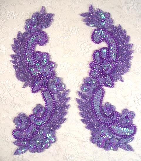 0180 Lavender Mirror Pair Sequin Beaded Appliques 8
