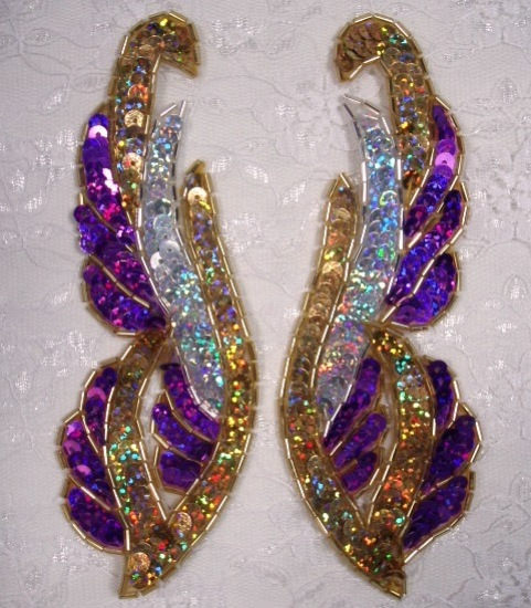 0033 Purple Gold Silver Mirror Pair 6\  Sequin Beaded Appliques