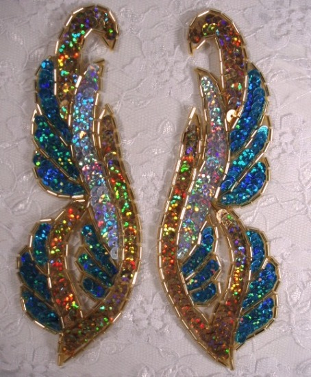 0033 Turquoise Gold Silver Mirror Pair 6\  Sequin Beaded Appliques