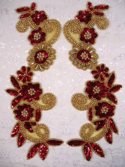 Red Gold 10  Mirror Pair Sequin Beaded Appliques 0183