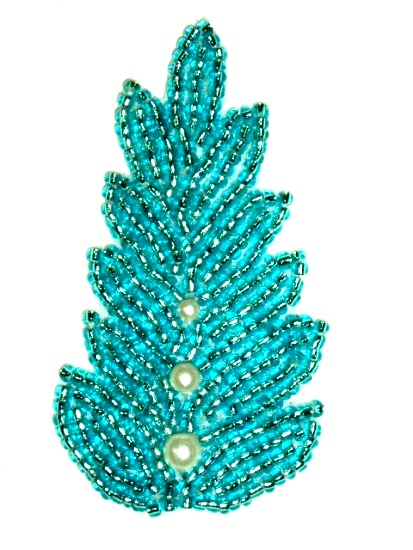 K1397 Turquoise Pearl Leaf Beaded Applique 2.5