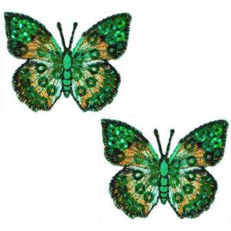 """E102  Set of ( 2 ) Green Butterfly Iron on Sequin Appliques 1.75"""""""